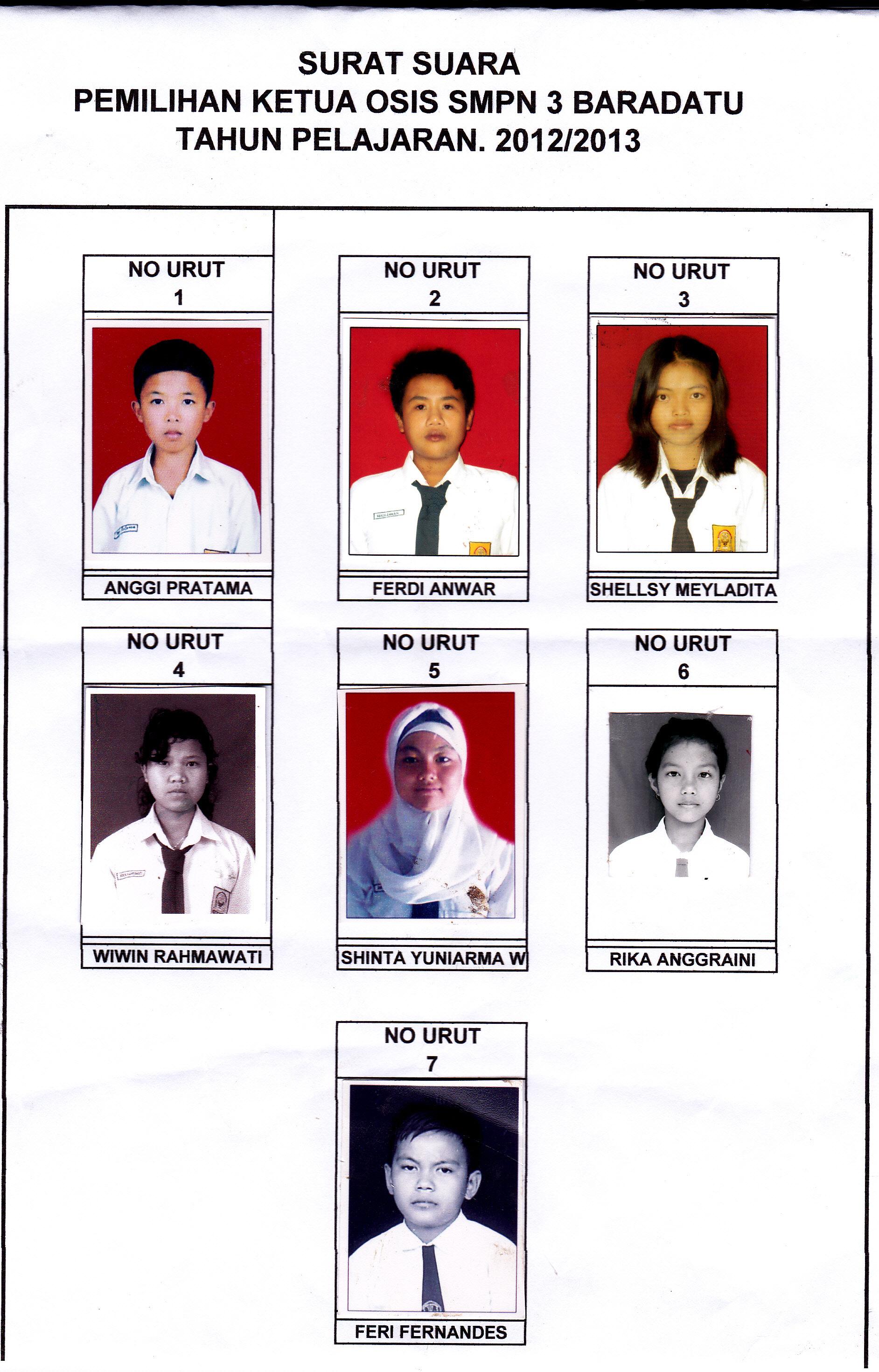 Pemilu Ketua Osis Smpn 3 Baradatu Tahun Pelajaran 20122013
